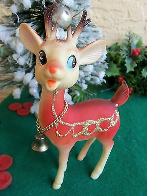 "VINTAGE POSEABLE HEAD SOFT PLASTIC REINDEER&BELL XMAS ORNAMENT/DECOR 6"" TALL"