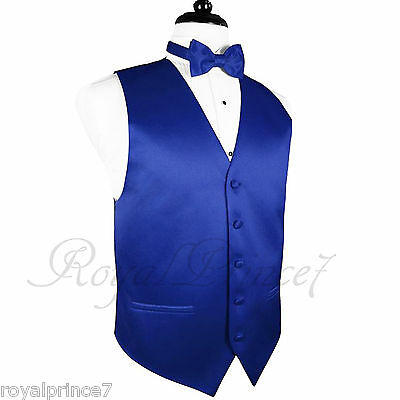 ROYAL BLUE MEN'S Tuxedo Suit Vest Waistcoat and Butterfly Bow tie Formal WEDDING