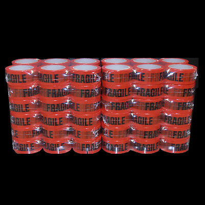 PICK UP ONLY! 72 Rolls FRAGILE Sticky Packing Tape 75 Meter x48mm Black on Red