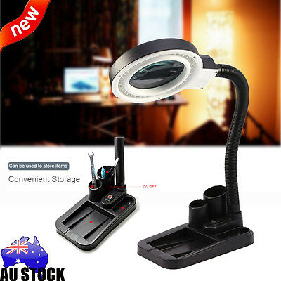 40 LED Light Multi Function Magnifying Crafts Glass Desk Lamp W/5X 10X Magnifier