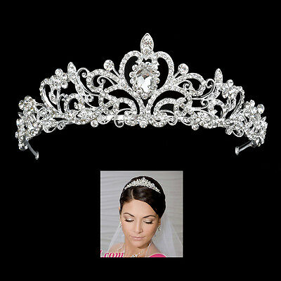 Silver Crystal Hair Tiara Wedding Bridal Princess Rhinestone Prom Crown Headband
