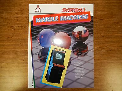 Atari System I Marble Madness Arcade Game Advertising Flyer.