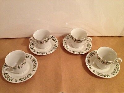 4 Home for the Holidays - Cup & Saucer - Holly Berry - Red & Green - Christmas