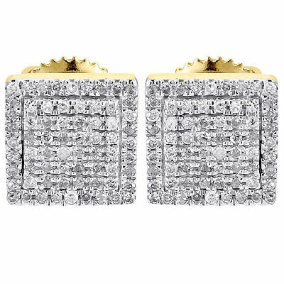 Diamond Earrings Mens 10K Yellow Gold Round Cut Square Studs Fully Iced 0.25 Ct.