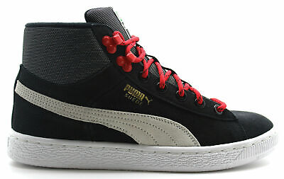 Puma Suede Classic Mid Top Juniors Kids Lace Up Trainers Black Red 356793 02 B1E