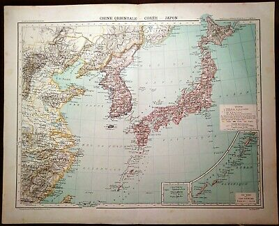 Carta geografica antica CINA China COREA GIAPPONE JAPAN 1891 Old antique map