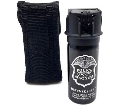 Police Magnum pepper spray 2 ounce Flip Top Stream Nylon Holster Safety Defense