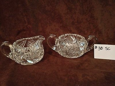 American Brilliant Cut Glass Sugar and Creamer #30SC