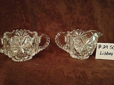 American Brilliant Cut Glass Libbey Sugar and Creamer #29SC