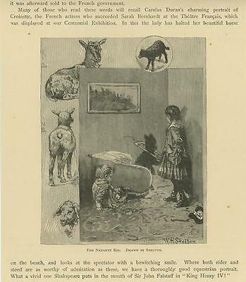 ANTIQUE VICTORIAN NAUGHTY GOAT KID BABY BLACK CHILDREN PLAYING SMALL ART PRINT