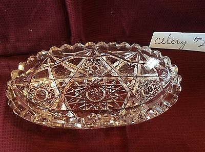 American Brilliant Cut Glass Celery Dish