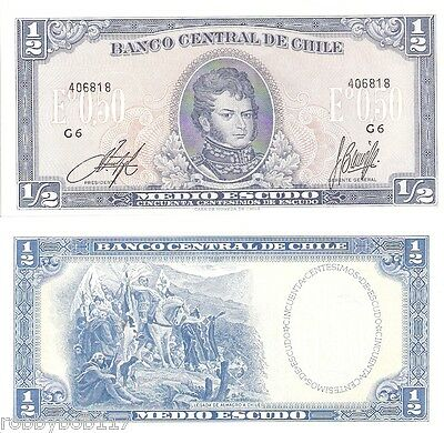 CHILE ½ Escudo Banknote World Money Currency South America p134Aa Note BILL