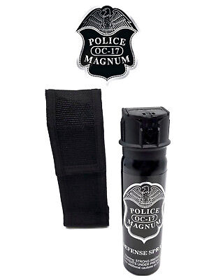 Police Magnum pepper spray 4oz ounce Flip Top Nylon Holster Defense Protection