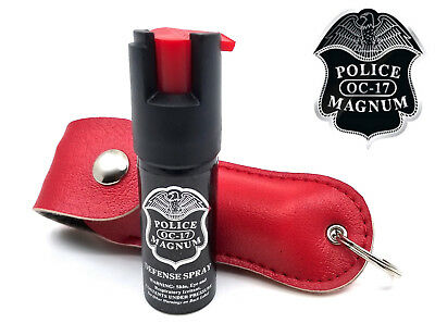Police Magnum pepper spray .50oz red keychain holster case self defense security