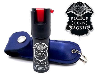 Police Magnum pepper spray .50oz blue keychain holster self defense security