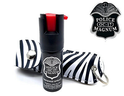 Police Magnum pepper spray .50oz zebra keychain holster self defense security