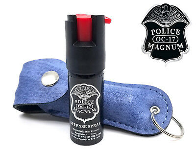 Police Magnum pepper spray .50oz denim keychain holster self defense security