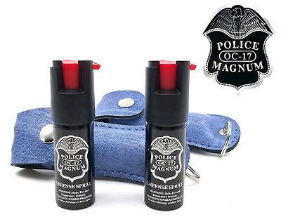 2 Police Magnum mace pepper spray .50oz denim keychain holster defense security