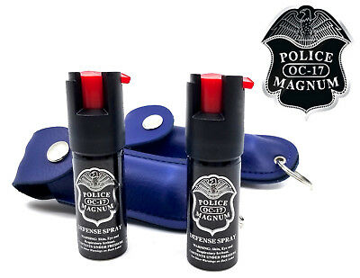 2 Police Magnum pepper spray .50oz blue keychain holster self defense protection
