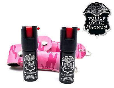 2 Police Magnum pepper spray .50oz pink camo keychain holster defense protection