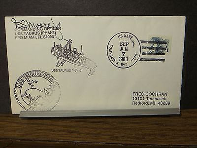 USS TAURUS PHM-3 Naval Cover 1983 SIGNED Cachet