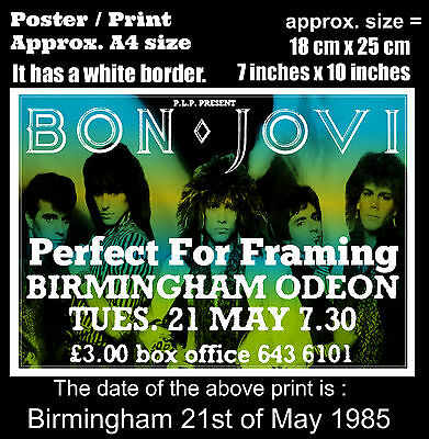 Bon Jovi live concert at Birmingham Odeon 21st of May 1985 A4 size poster print