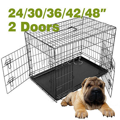 Black Wire Folding Suitcase Pet Dog Cat Crate Cage Kennel Pen w/ABS Tray LC