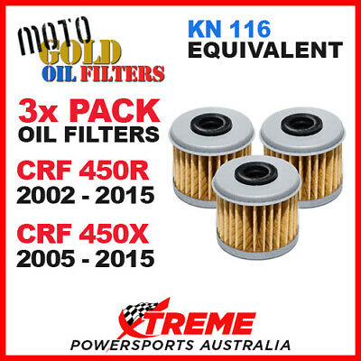 3 Pack Moto Gold Oil Filters Honda Crf 450R 02-2015 Crf 450X 05-2015 Of4 Kn116