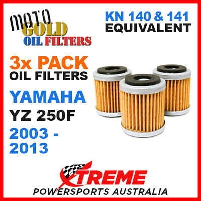 3 Pack Yamaha Yz250F Yzf250 2003-2013 Moto Gold Mx Oil Filter Kn 140 141 Of13