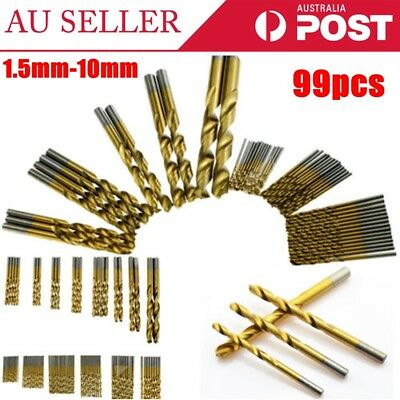 1.5mm-10mm 99pcs/set High Speed Steel Drill Bit Titanium Coated HSS Tool Set AU