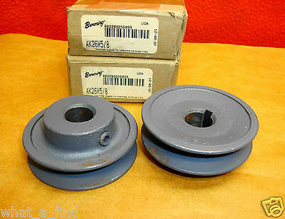 "2 Lot New Browning AK26X5/8  Pulley Sheave Single 1 V Groove 5/8"" bore 3L A belt"