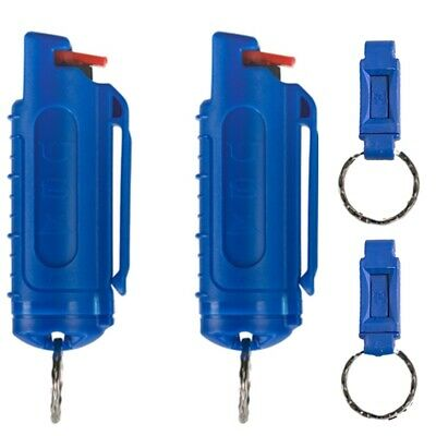 Police Magnum .50oz mace pepper spray 2 blue molded keychain 2 QR self defense