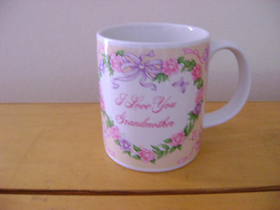 I LOVE YOU GRANDMOTHER CUP/MUG LEFTON  1990 white pastel flowers butterflies