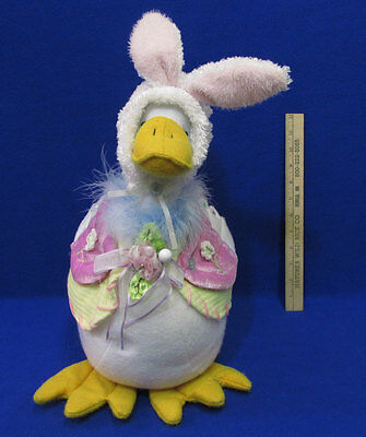 Large Easter Plush Goose or Duck in Bunny Rabbit Bonnet Holiday Spring Decor
