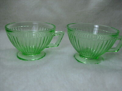 Round Robin Green Vaseline Cups 1930's Set of 2