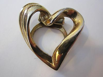 Vintage Jewelry HEART SCARF CLIP Brooch Pin Gold Tone Metal