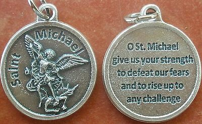 Gray-tone Saint St. Michael the Archangel Medal Charm + Give Us Your Strength