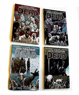 THE WALKING DEAD Graphic Novels x4, Used Library copies with stickers/rips