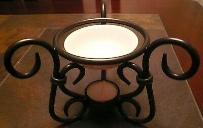 VINTAGE WROUGHT IRON STYLE TEA LIGHT CANDLE & OIL INCENSE HOLDER LAMP STAND