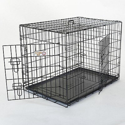 "Majestic Pet Products Titan 42"" Large Double-Door Folding Crate Cage for Dogs"