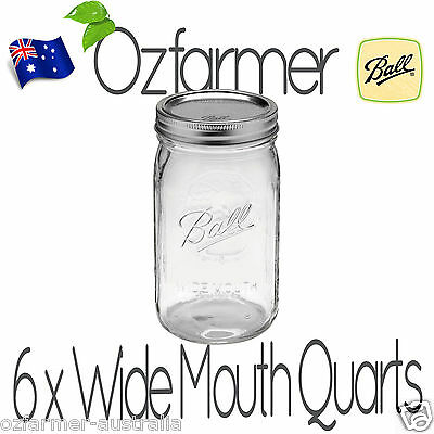6 x 1 Litre Quarts Wide Mouth Ball Mason Australia Preserving Jars BPA Free Lids