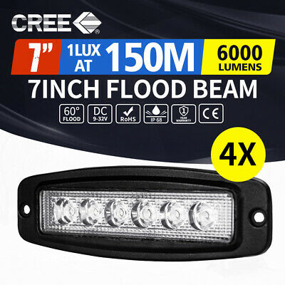 4x 7inch 30W CREE LED Work Driving Light Bar Flood Flush Mount Offroad Reverse
