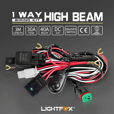 LED HID Wiring Loom Harness Spot Work Driving light bar 12V 40A Deutsch Relay