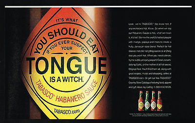 2002 Tabasco Habanero Sauce Tongue Is A Witch Print Ad