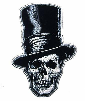 SKELETON STOVE PIPE HAT  PATCH P8233 NEW jacket BIKER EMBROIDERED iron/on TOP