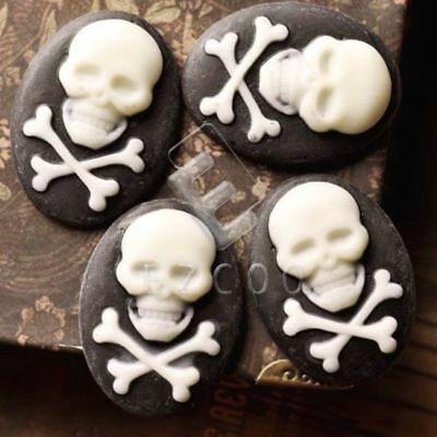 Skull Pirate Cameos Resin Mould 4 Pieces 30x22mm Cabochon RB0687