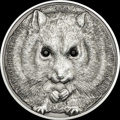 2015 Mongolia CAMBELL'S HAMSTER Wildlife Protection Silver Coin