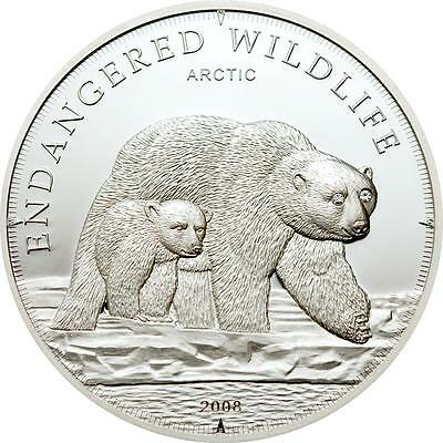 Cook Islands 2008 $5 Endangered Wildlife Arctic Ice Bears 25g Silver Proof Coin
