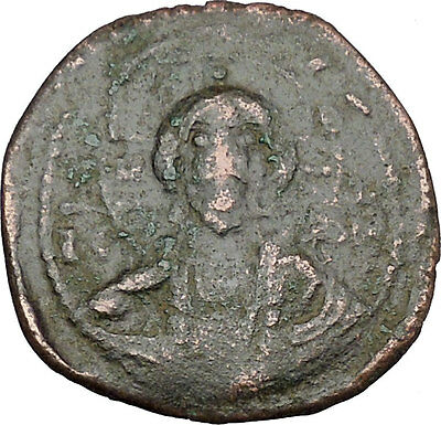 JESUS CHRIST Class E Anonymous Ancient 1059AD Byzantine Follis Coin i48445