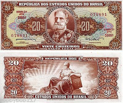 BRAZIL 20 Cruzeiros Banknote World Paper Money UNC Currency Pick p-178 Bill Note
